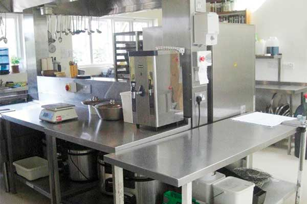 The state of the art kitchen that serves the dhamma campus.
